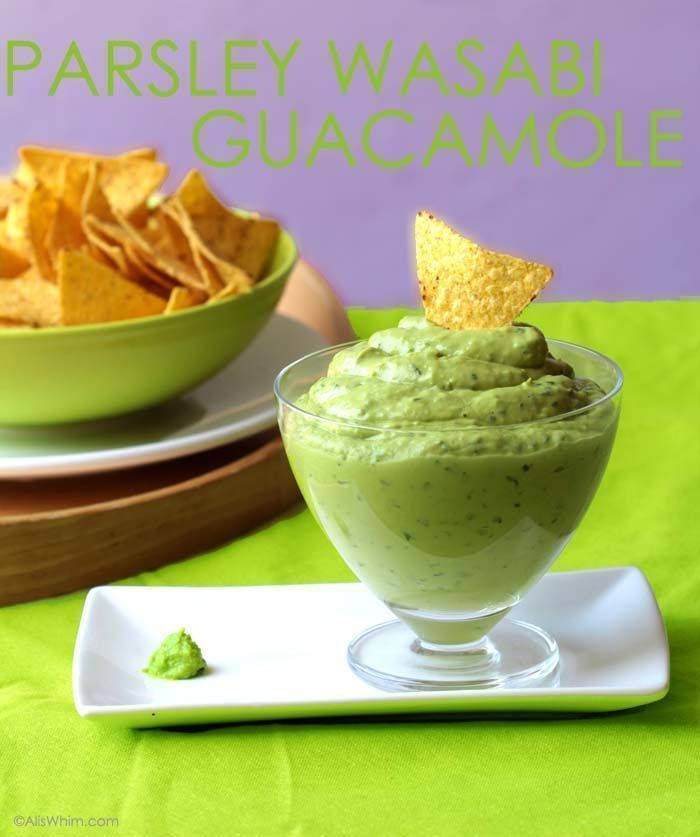 Guacamole with parsley, mint and wasabi