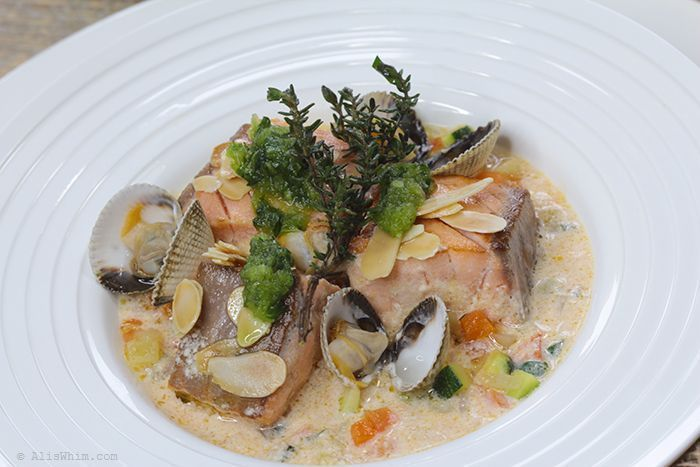 Salmon blanquette with pistou