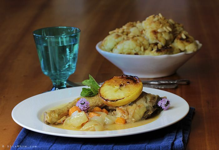 Chicken with cider and apples